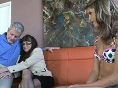 An old dude's dick gets shared by two slutty bitches, Alexandra Silk and Kara
