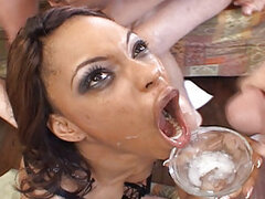 Marie Luv is one little ebony slut who doesn't fuck around! She goes right for the splooge in this scene as she sucks on multiple thick cocks! This babe is a cum swallowing whore, she knows her way around the cock and as she deep throats and gets these st