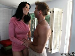 Tattooed brunette Zoey Holloway gets a cock in her mouth, licks his balls