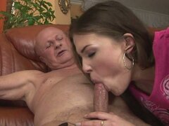 This old grandfather gets his dick sucked by some horny young bitch