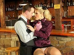 Busty Blonde Has Satin Sex With a The Bar's Bartender