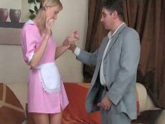 Blonde maid gives extra special service
