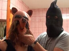Nasty master forcing horny slave in mask to filthy kinky fun