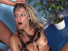 Klarisa Leone is pissing and sucking cock