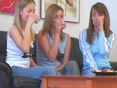 Three gorgeous teens have an amazing lesbian pleasure