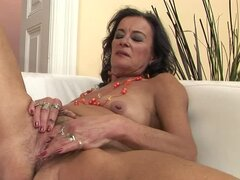 Sandora toys her old hairy pussy and gets it stunningly fisted