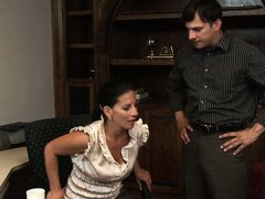 Saggy tit brunette office worker gets seduced and he gets her naked