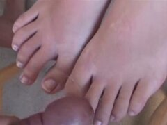 Titillating foot fuck by busty Evelyn Lin causes jizz to explode on her feet