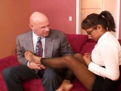 Nerdy brunette secretary eats the bosses stiff tool and gets drilled