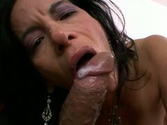 Pornstar Melissa Monet gets a rich load of popshot on her mouth