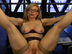 Mature stimulates trimmed pussy