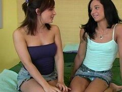 Teen duo of naughty girls finger their muffs till squirting