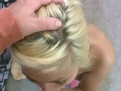 Cute blonde Lacey Marie is fucking an older guy