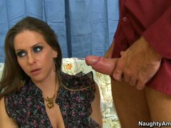 Surprised milf Rachel Roxxx finally blows cock and gets naked