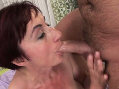 Even the old, red-head slut wants to be fucked and jizzed by young studs