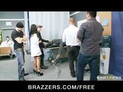 Groupie girl & hospital nurse start orgy with two band members