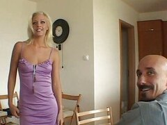 Blonde sexy bride lady doing blowjob...