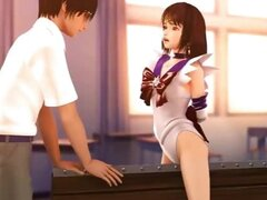 Cute girl classroom 3d threesome