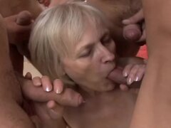 Adriana the slutty granny getting banged by three guys