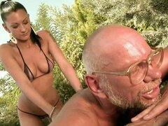 Slim Skanky Whore Sucks Grandpa Dick &...