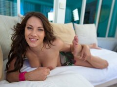 Sweet and Innocent brunette shows off before using her sexy feet to entice!!!