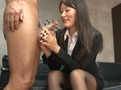 Kozue Hirayama sucks a dick in an office and enjoys some rear banging
