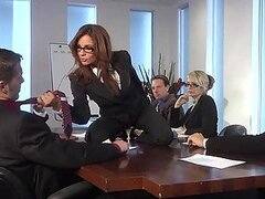 Threesome With Redhead Kirsten Price In The Office Before a Night Orgy