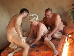 Old blonde granny in hardcore threesome