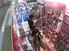 Perverted Asian Babe Gets In a Sex Shop Only with a Thong and Bra on