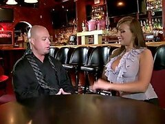 Beauty with huge tits Nika Noir spreads her legs in the bar