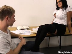 Stacked brunette teacher Lacie James is on the prowl for extra-curricular activities
