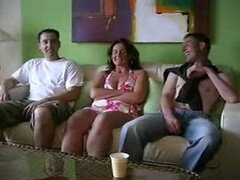 three guys have fun with milf at holliday swinger