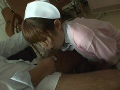 Slutty Japanese nurse blows a dick and gets nailed