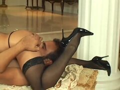 High heels, stockings and a cock down her throat - Pandemonium