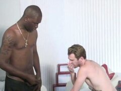 Hot interracial gay scene where big black dick stuff tight white ass