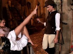 Horny and lustful, CJ and Blue Angel get together in the stable to fulfill their needs