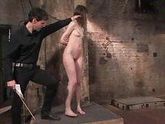 Schoolgirl Kristine obediently blows her master on command