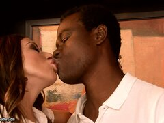 Black man getting a hot white woman ready for his huge shlong