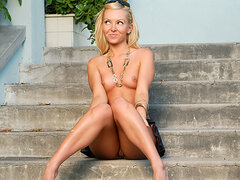 Outdoor nudity with blonde
