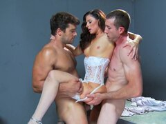 Busty slutty brunette India Summer is gangbanged by two
