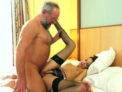 Busty and naughty brunette fucks this old dude