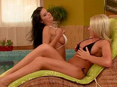 Brittany Spring and Candy Alexa have hot lesbian sex on a couch