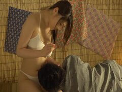 Hot Japanese chick enjoys jumping on her husband's hard cock