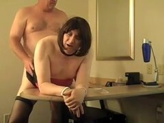 Cross dresses taking it in his tight rear opening