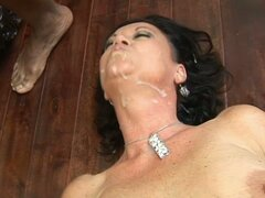 De Bella sucks and rides a black cock and gets cum on her neck