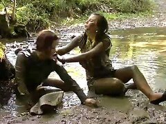 Messy Babes Fulfill Their Fetish While Crossing A Bridge
