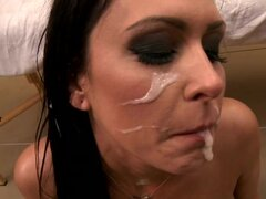 Raging Jessica Jaymes is covered in cock cream