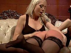 Submissive Blonde Gets Fucked By a Dominating Babe with Strapon in BDSM