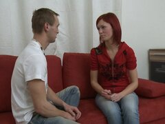 Teen redhead in jeans seduced