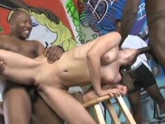 Great bukkake session with 4 black dudes and Amber Rain getting gang banged